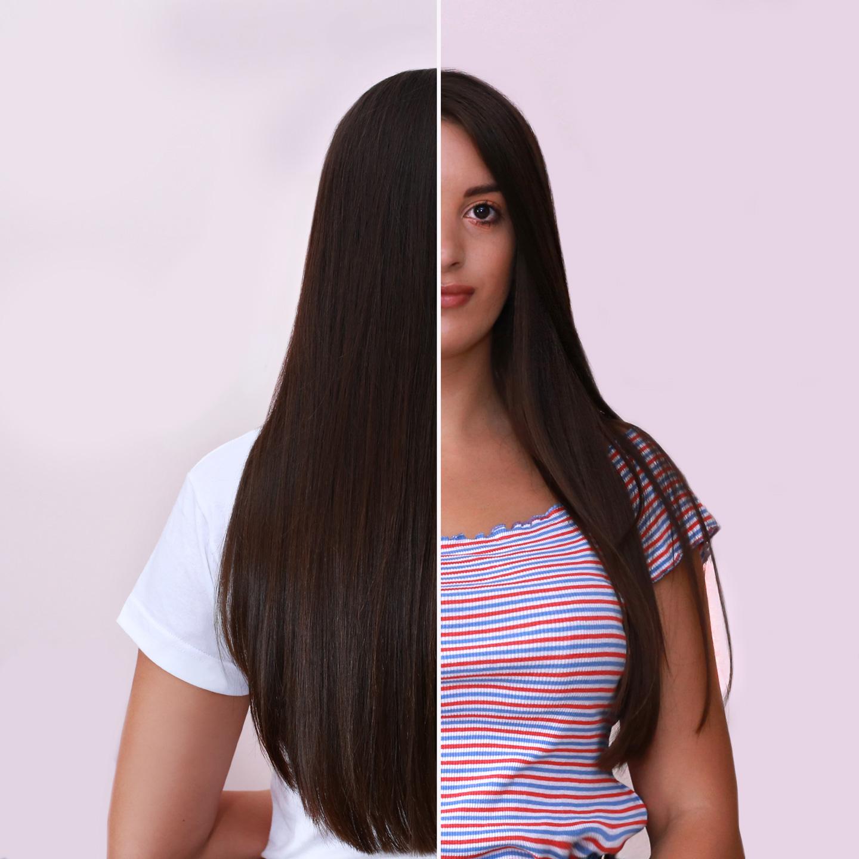 devojka pre i posle tretmana za kosu