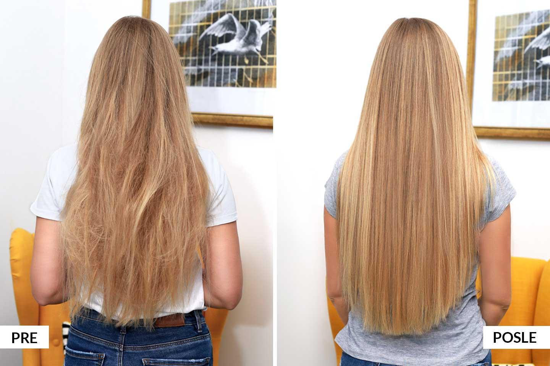 pre i posle tretmana za kosu